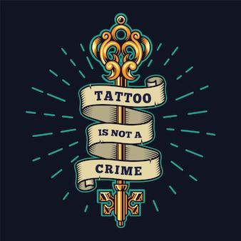 Emblema colorido de salão de tatuagem