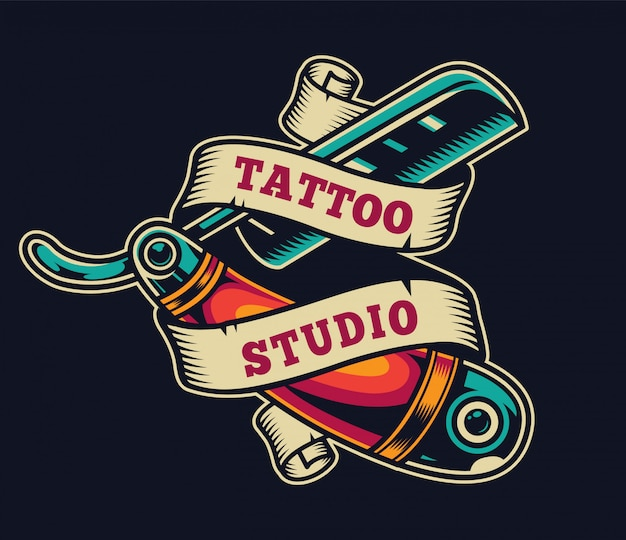 Emblema colorido do estúdio de tatuagem vintage