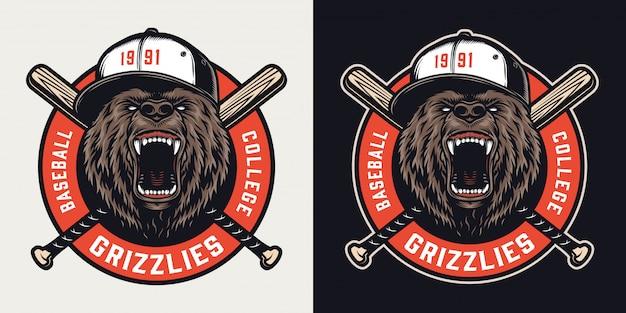 Emblema colorido vintage de liga de beisebol