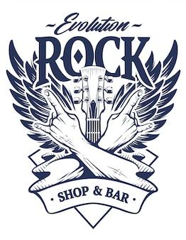 Emblema com as mãos cruzadas assinam gesto de rock n roll, braço de guitarra e asas. modelo de emblema de rocha monocromática.