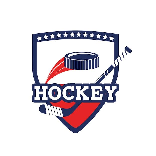Emblema com bastões de hóquei e equipamentos de puck