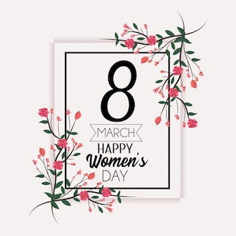 Emblema com decoração de rosas para o dia das mulheres