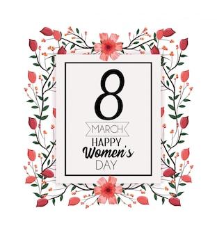 Emblema com flores e ramos de folhas para o dia das mulheres