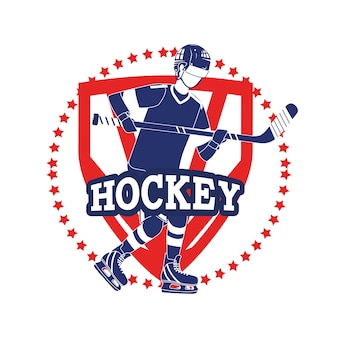 Emblema com jogador de hóquei profissional e uniforme