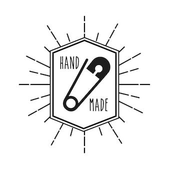 Emblema com moldura decorativa de conceito feito à mão