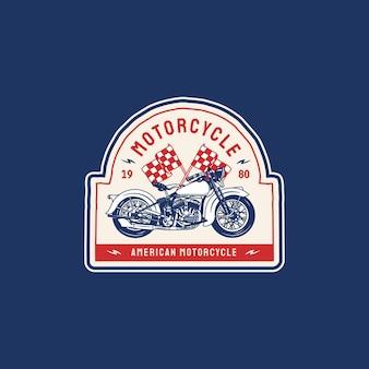 Emblema com o logotipo da motocicleta americana com estilo retro vintage
