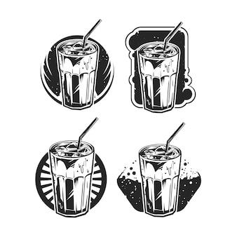 Emblema conjunto de café frio b & w