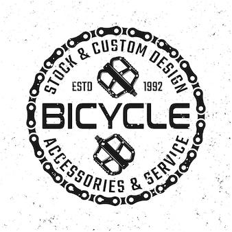 Emblema, crachá, etiqueta ou logotipo de vetor de bicicleta com pedais em estilo vintage isolado no fundo branco