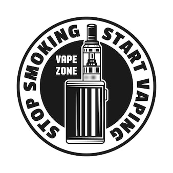 Emblema, crachá, etiqueta ou logotipo monocromático de vetor de cigarro eletrônico com texto para parar de fumar e começar a vaporizar isolado no fundo branco