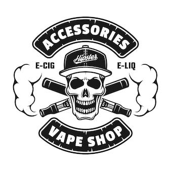 Emblema, crachá, etiqueta ou logotipo monocromático de vetor de loja vape com caveira na tampa e cigarros eletrônicos isolados no fundo branco