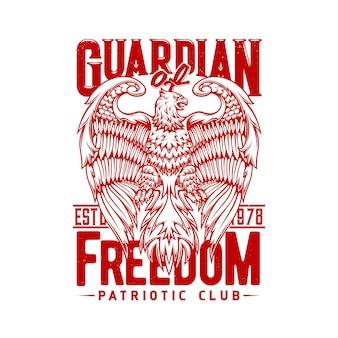 Emblema da águia ou grifo em design de ilustração de estilo heráldico