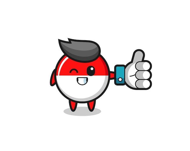 Emblema da bandeira da indonésia fofa com símbolo de polegar para cima de mídia social, design de estilo fofo para camiseta, adesivo, elemento de logotipo