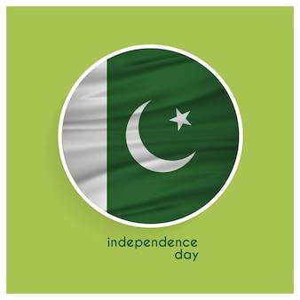 Emblema da bandeira de paquistão para o dia da independência no fundo verde