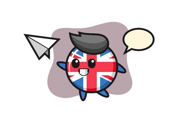 Emblema da bandeira do reino unido, design de estilo fofo para camiseta, adesivo, elemento de logotipo
