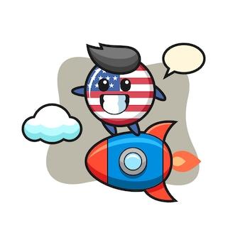 Emblema da bandeira dos estados unidos, design de estilo fofo para camiseta, adesivo, elemento de logotipo