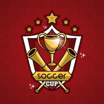 Emblema da Copa de futebol com estrelas no crachá
