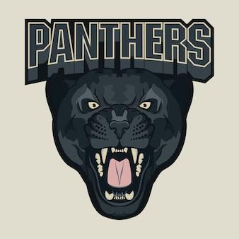 Emblema da equipe panther sport com raiva, cabeça de gato selvagem.