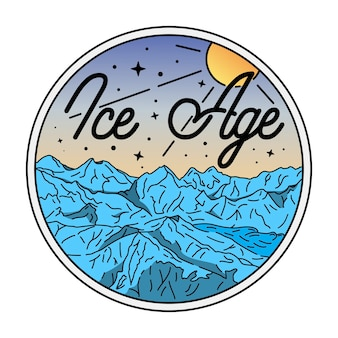 Emblema da era do gelo monoline vintage