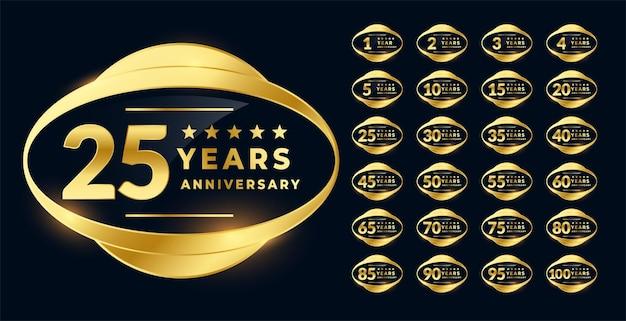 Emblema da etiqueta de aniversário na cor dourada