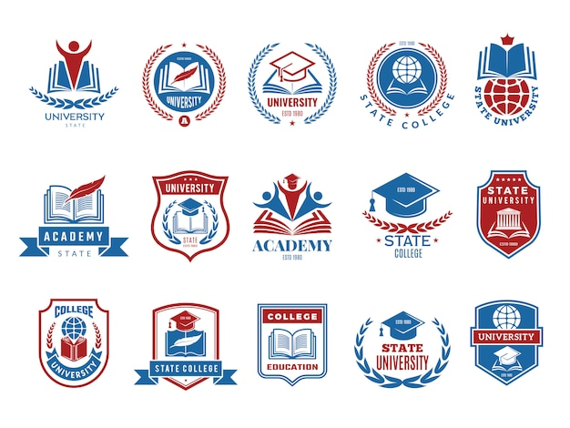 Emblema da faculdade. coleção de logotipo de escola ou universidade emblemas e etiquetas