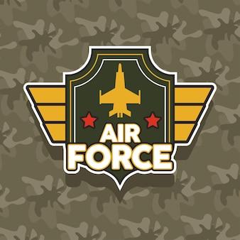 Emblema da força aérea com ícone militar de avião dourado