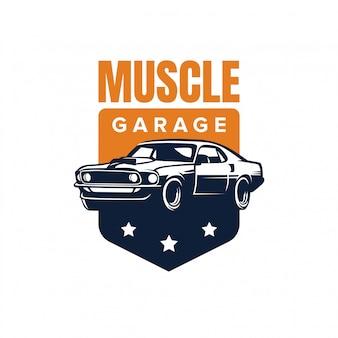Emblema da garagem do carro do músculo