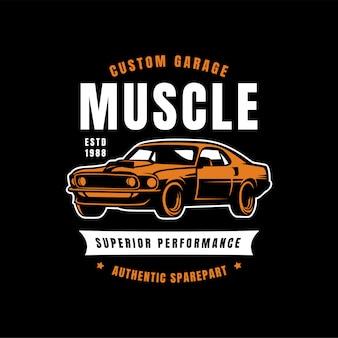 Emblema da ilustração do carro do músculo