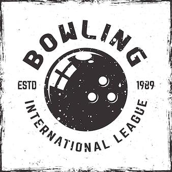 Emblema da liga de boliche em estilo vintage