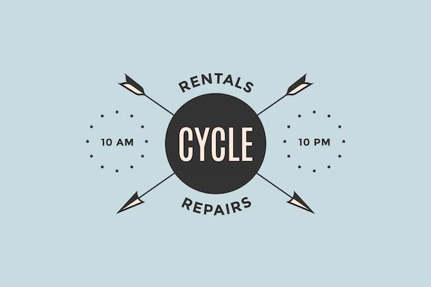 Emblema da loja de bicicletas com setas