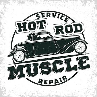 Emblema da organização de reparos e serviços de muscle cars