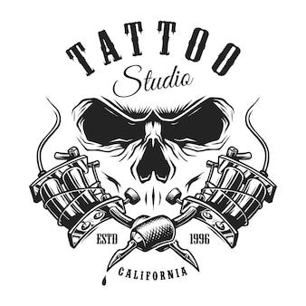 Emblema da tatuagem monocromática vintage