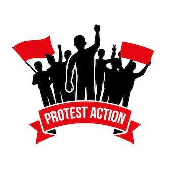 Emblema de ação de protesto