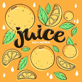 Emblema de adesivo brilhante e logotipo para suco de frutas cítricas