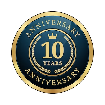 Emblema de aniversário de 10 anos coroa coroa de louros azul escuro metálico brilhante ouro redondo logotipo