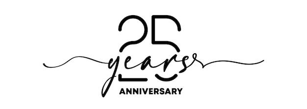 Emblema de aniversário de 25 anos. emblema ou etiqueta de aniversário. 25º elemento de design de celebração e parabéns. estilo de uma linha. vetor eps 10. isolado no fundo.