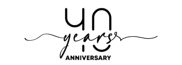 Emblema de aniversário de 40 anos. emblema ou etiqueta de aniversário. 40º elemento de design de celebração e parabéns. estilo de uma linha. vetor eps 10. isolado no fundo.