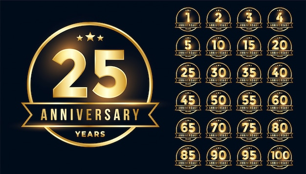 Emblema de aniversário de ouro premium definido no estilo de linha