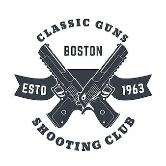 Emblema de armas clássicas, logotipo com duas pistolas poderosas, armas, ilustração