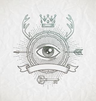 Emblema de arte linha com elementos heráldicos e ilustração de símbolos místicos