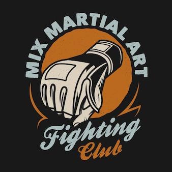 Emblema de artes marciais mistas do clube da luta de mma Vetor Premium