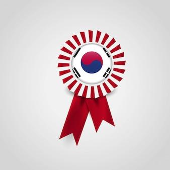 Emblema de bandeira de fita de bandeira da coreia do sul