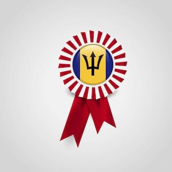 Emblema de bandeira de fita de bandeira de barbados