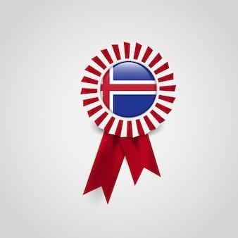 Emblema de bandeira de fita de bandeira de islândia