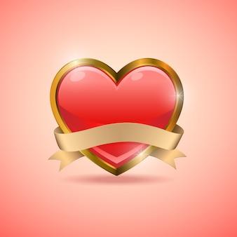 Emblema de bandeira do emblema de coração dia dos namorados
