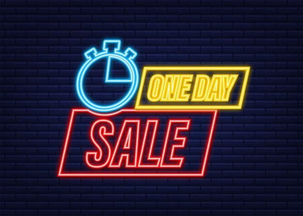 Emblema de banner de venda de um dia. ícone de néon. venda, etiqueta de preço. etiqueta da loja. emblema de oferta especial. ilustração em vetor das ações.