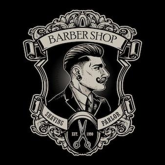 Emblema de barbearia vintage