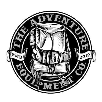 Emblema de bolsa de montanha adequado para logotipo de aventura ao ar livre