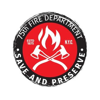 Emblema de bombeiro grunge com eixos