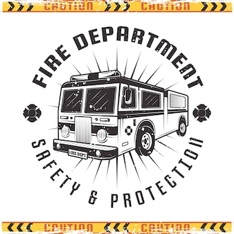 Emblema de caminhão de bombeiros para corpo de bombeiros em estilo vintage isolado