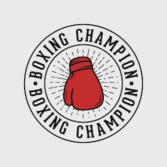 Emblema de campeão de boxe tipografia vintage ilustração de design de camiseta de boxe
